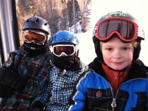 Boys skiing in Vail
