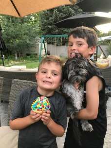 Rocco's 8th birthday with an ungroomed, stinky dog